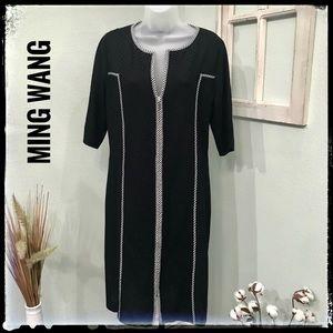 Ming Wang Black Checked Trim Waffle Knit Dress